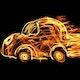 foto van een brandende auto