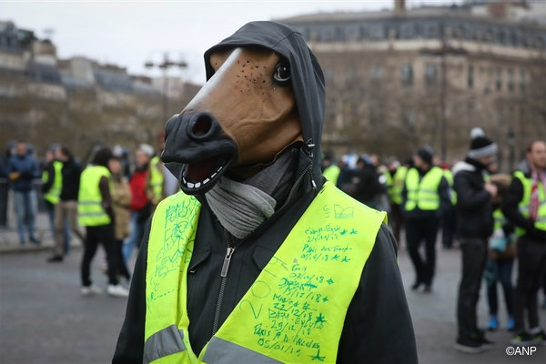 """A man wearing a mask of a horse and a yellow vest reading the dates and locations of the demontsrations he took part since the beging of the mouvement, protest during an anti-government demonstration called by the Yellow Vest """"Gilets Jaunes"""" movement, on January 12, 2019, on the Place de l'Etoile, in Paris."""