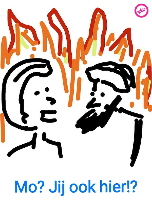 Mo & Greet, sitting in a fire