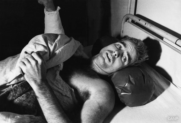 A photo taken by a French cameraman in 1967 shows US Navy Airforce Major John McCain lying on a bed in a Hanoi hospital as he was being given medical care for his injuries. John McCain was captured in 1967 at a lake in Hanoi after his Navy warplane was downed by the Northern Vietnamese army during the Vietnam War.