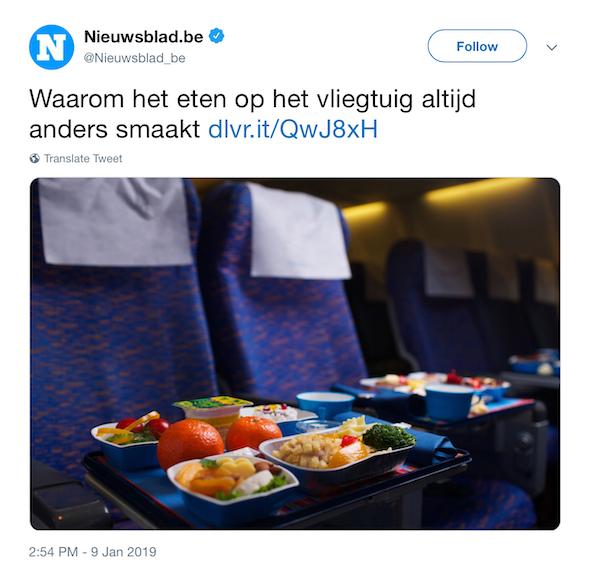 In de categorie nieuwsberichten die smaken naar vliegtuigvreten