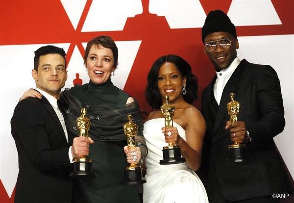 Rami Malek holds his Oscar for Actor in a leading Role for 'Bohemian Rhapsody,' Olivia Colman holds her award for Actress in a Leading Role for 'The Favourite,' Regina King holds her award for 'Actress in a Supporting Role for 'If Beale Street Could Talk' and Mahershala Ali holds his award for Actor in a Supporting Role for 'Green Book' as they pose in the press room during the 91st annual Academy Awards ceremony at the Dolby Theatre in Hollywood, California, USA, 24 February 2019.