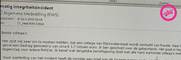 Hele mail in opkliklink in topic