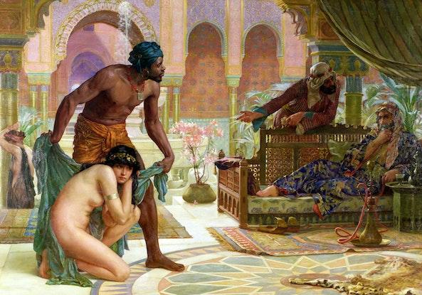 Ernest Normand - The Bitter Draught of Slavery (1885). Vrouw gevangen genomen door Barbarijse Zeerovers.