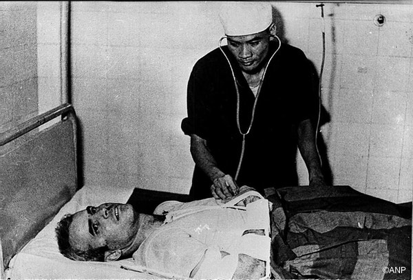 A photo taken in 1967 shows US Navy Airforce Major John McCain being examined by a Vietnamese doctor.