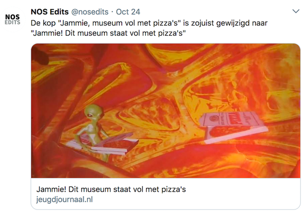 Pizza's staan. Je weet toch.